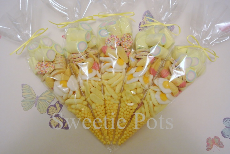 Yellow sweet/candy cones