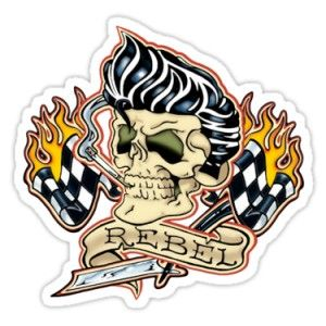 Sticker rockabilly rebel racing skull 10