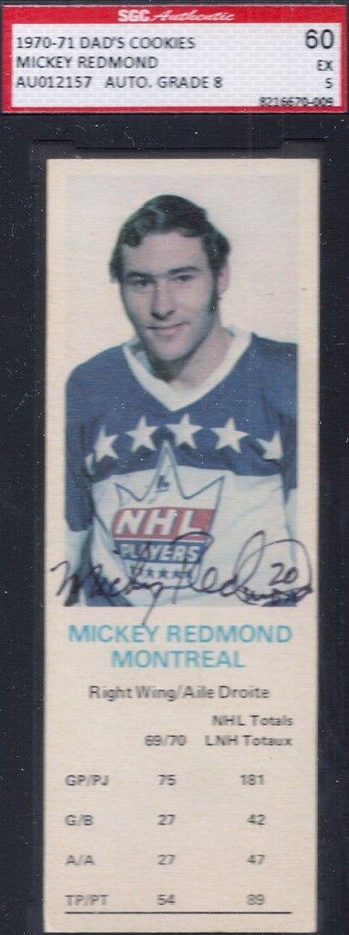1970-71 Dad's Cookies Mickey Redmond autograph