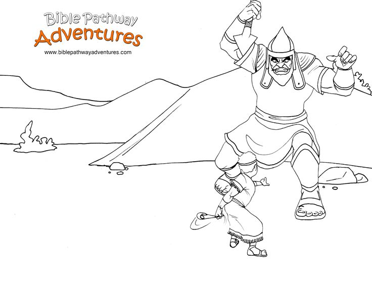 a coloring page for kids from the story facing the giant david fights the