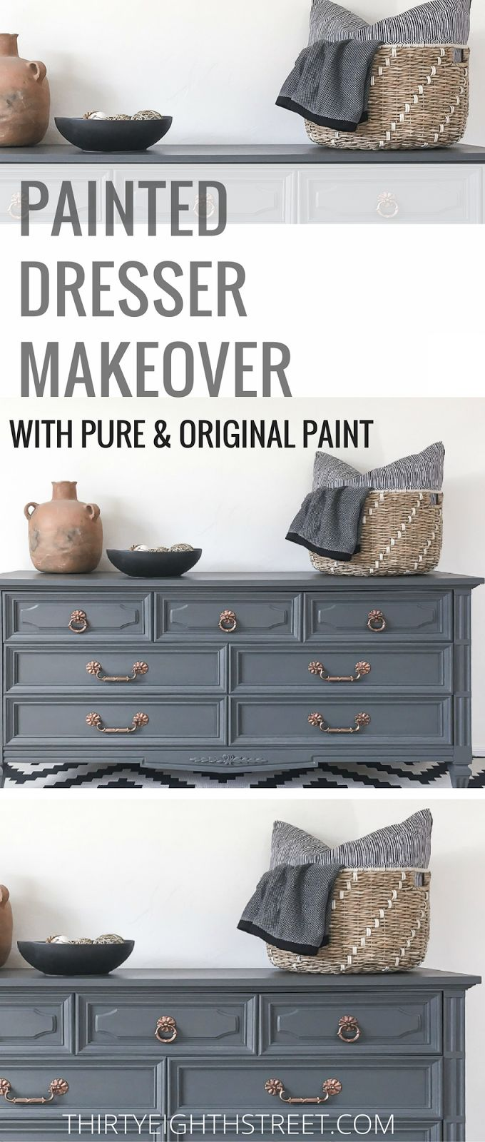How To Paint Wood Furniture! Painting Furniture With Chalk Paint Gives Your Furniture A Refresh! Grey and Copper Painted Dresser Makeover is GORGEOUS! LOTS of Furniture Makeovers and Painted Furniture Tutorials. #paintedfurniture #paintingfurniture #chalkpaint #chalkpaintfurniture