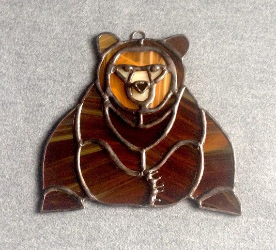 Gifts For Dad Wildlife Decor Grizzly Bear Cabin Decoration Window Suncatcher Brown Bear Nature Lover Home Stained Glass Animal