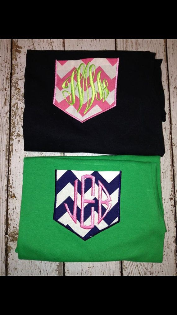 Monogrammed chevron pocket shirt. I want one of those