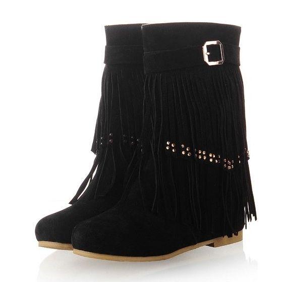 8cef04051e955 New Arrival Casual Tassel Fur Flat-boot Flat Boots from fashionmia.com