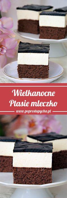 Szukacie ciasta na Wielkanoc? W tej roli sprawdzi się idealnie Ptasie mleczko, w której w skład wchodzą: mocno czekoladowy budyń, owocowa pianka, polewa czekoladowa <3  #poprostupycha #wielkanoc #ciasto #wypieki #przepis
