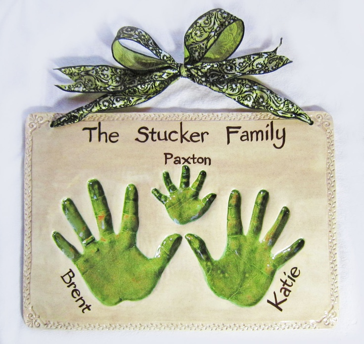 "Family plaque, hand impression keepsake made from your child's hand. Mail order available. Email me for more details: Amy@MittsPiggysPaws.com      Visit and ""LIKE"" us on Facebook for the newest, cutest designs!! www.Facebook.com/MittsPiggysPaws"