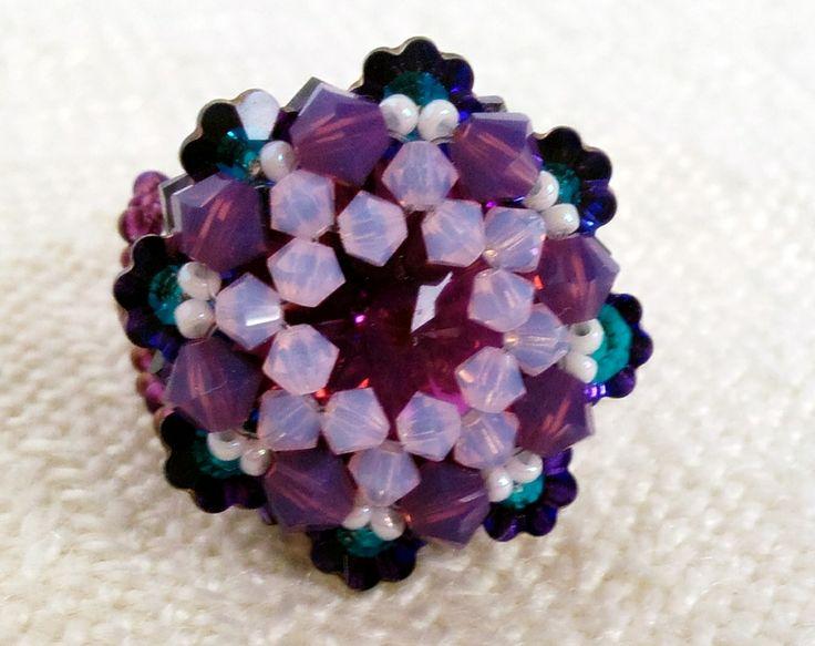 Purple flower ring, Lila swari virág gyűrű, csodaszép