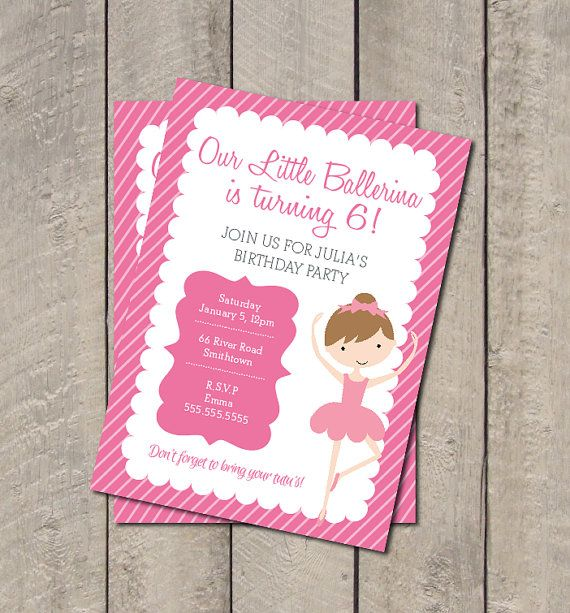 Ballerina Birthday Party Invite  Hot Pink & by getthepartystarted, $13.00