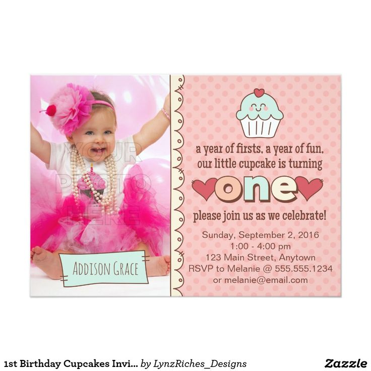 Amazing Cupcake Invitations 1st Birthday Adornment - Invitation Card ...