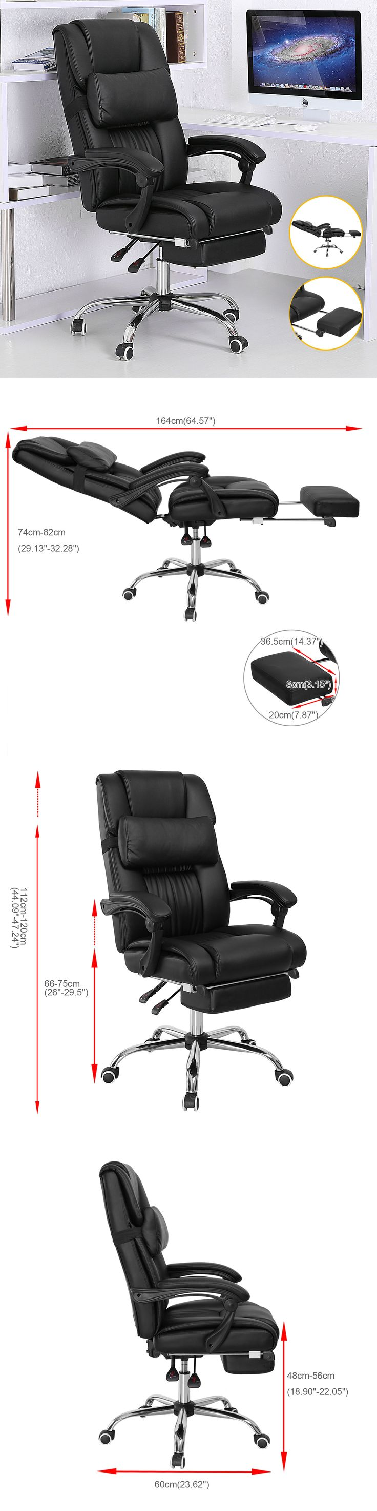 Office Furniture: Executive Office Chair Ergonomic High Back Reclining Leather Footrest Armchair BUY IT NOW ONLY: $150.99