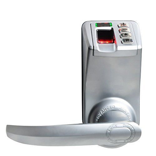 Adel Keyless Biometric Commercial Fingerprint Keypad Lock for Entrance Door, Garage or Office (Left And Right Handle, Metal Material)