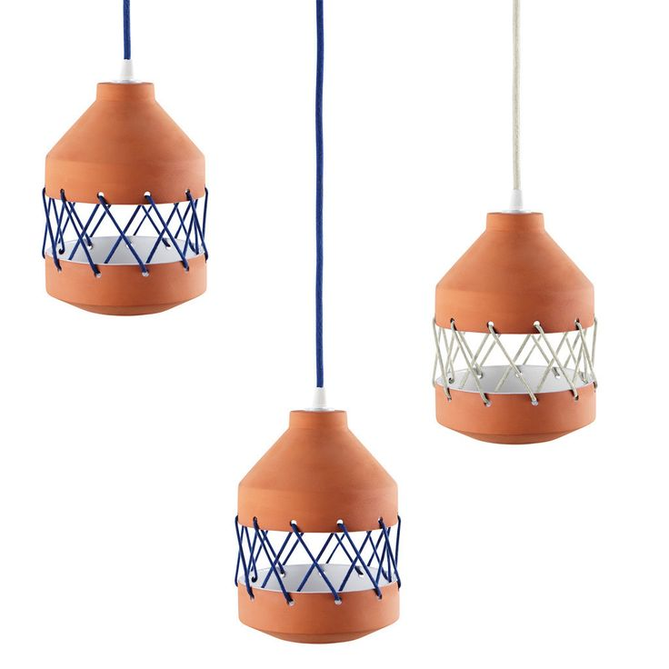 Mini terracotta Tie Lamp with blue and white ecru coloured cotton ties.