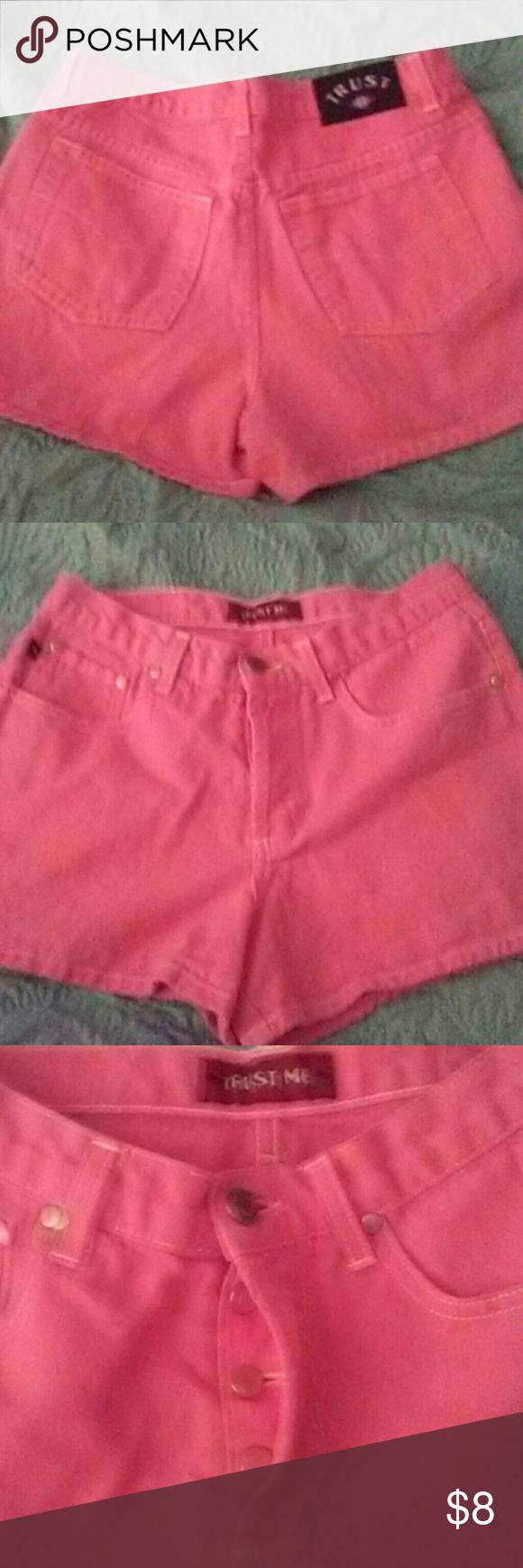 Trust Me Size 5 Hot Pink Shorts Trust Me Size 5 Hot Pink Shorts Button-Up Fly Trust Me Shorts Jean Shorts