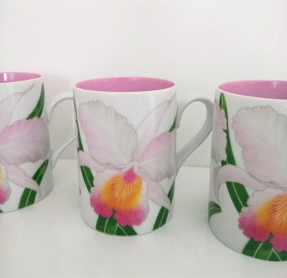 Vintage Fitz And Floyd Mugs Orchids Deux