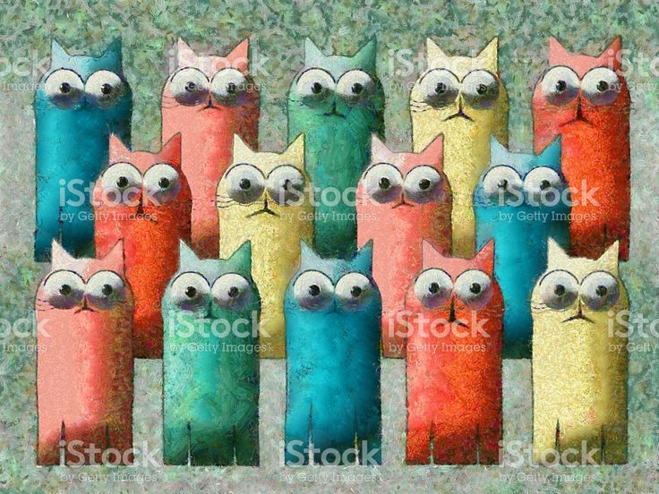 Cats Colorful Cartoon Painting royalty-free stock illustration