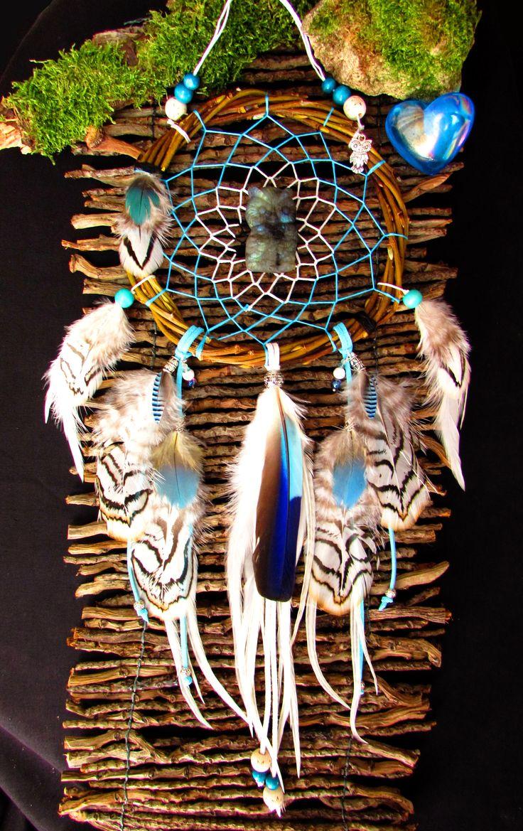 Attrape rêves bois, hibou labradorite et plumes naturelles