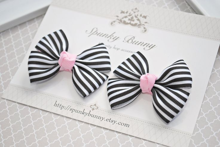 Black Striped Children Hair Bows, Little Girl Hair Barrette, Black Hair Bow ,Baby and Toddler No Slip Hair Clip, Kid Girl Hair Bow by SpunkyBunnyBoutique on Etsy