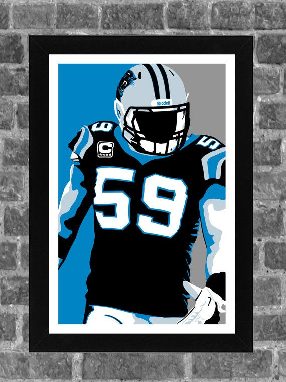 Carolina Panthers Luke Kuechly Portrait Sports by FanFourLife