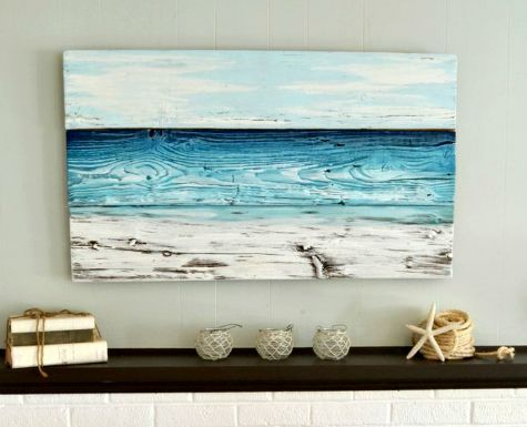 ocean painted on wood by aimee weaver give it a try featured on cc coastal wall - Coastal Wall Decor