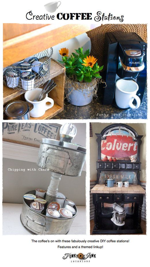 Creative DIY Coffee Stations - easy to create DIY ideas to serve up coffee in style! Features and a themed linkup via http://www.funkyjunkin...