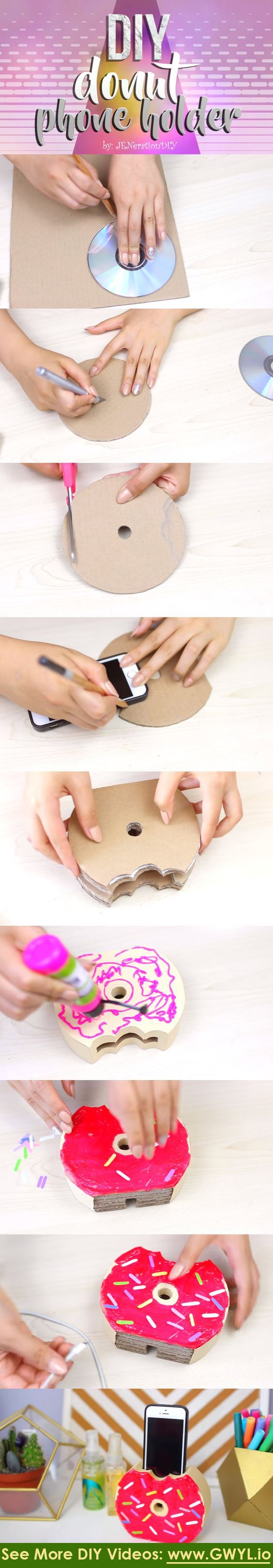 See video and written instructions here==>   Easy-To-Do Donut Phone Charger/Holder   http://gwyl.io/easy-donut-phone-chargerholder/: