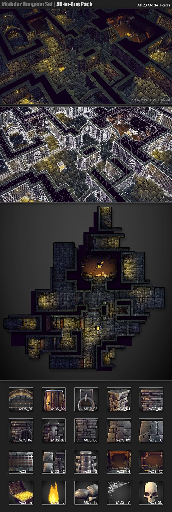 Modular Dungeon Set | All-in-One Package - 3DOcean Item for Sale - $300