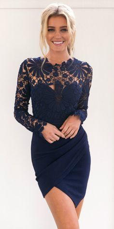Delicated lace crochet can make you stand out at party. You can wear this dress in multiple times, from an elegant dinner look to a classic wedding look, tranforming in its multi ways. Shop at AZBRO.COM