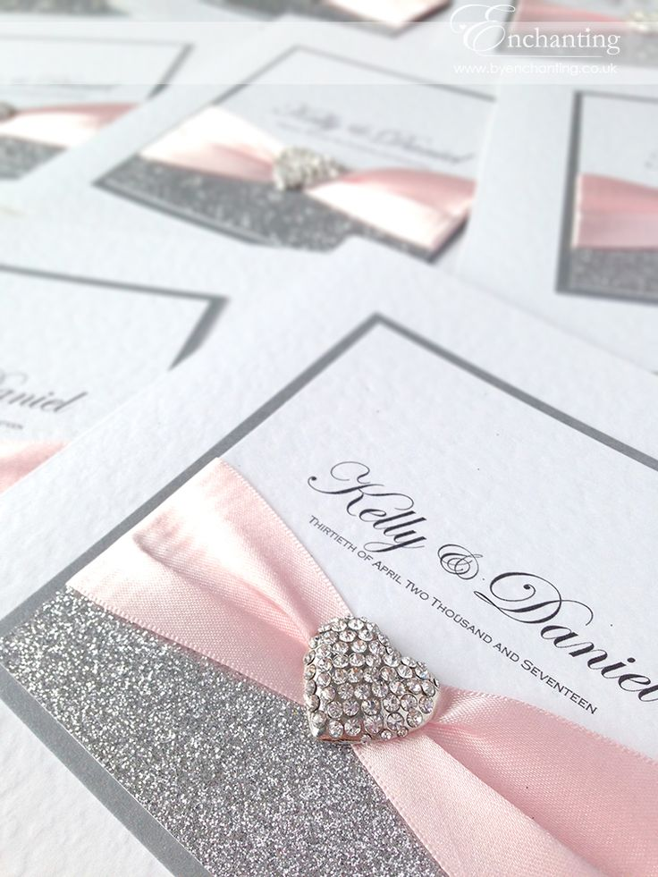 Pale Pink and Silver Wedding Invitations | The Cinderella Collection - Classic Fold Invite | Featuring silver glitter paper, pale pink ribbon and silver diamante heart embellishment | Enchanting luxury handmade wedding invitations and stationery #byenchanting