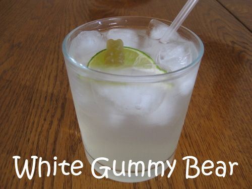 Thirsty Thursday.  ~White Gummy Bear Mixed Drink~ 1/2 oz Peach Schnapps 1/2 oz Raspberry vodka 2 Splashs Sweet and Sour 2 Splashs Sprite/7-up 2 lemon wedges Ice Mix all ingredients into a shaker, squeeze and toss lemon wedges into the shaker also, shake and strain into a glass. Absolutely perfect!