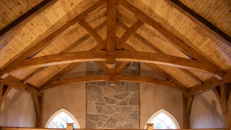 www.canadaprefab.ca Cathedral ceiling, timber frame home, timber truss, pine tongue and groove ceiling, Legendary Group prefab homes.