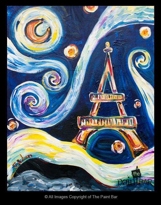 Starry Eiffel Tower Painting