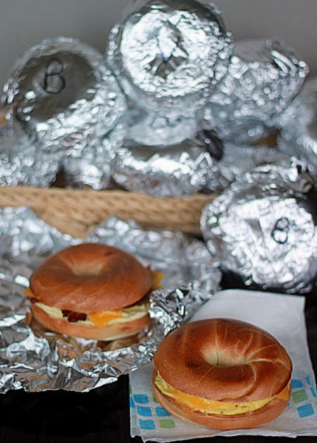 Grab n GO  High-Protein Breakfast Bagel Sandwich: Eggs, Turkey Sausage and Low-fat cheese. Eggs 6g of protein each One turkey sausage patty 6g per patty Whole-grain bagel