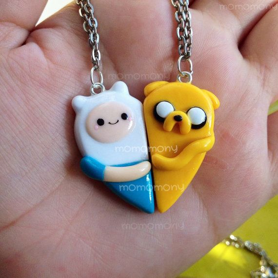MADE TO ORDER Adventure Time Heart  Friendship Necklaces
