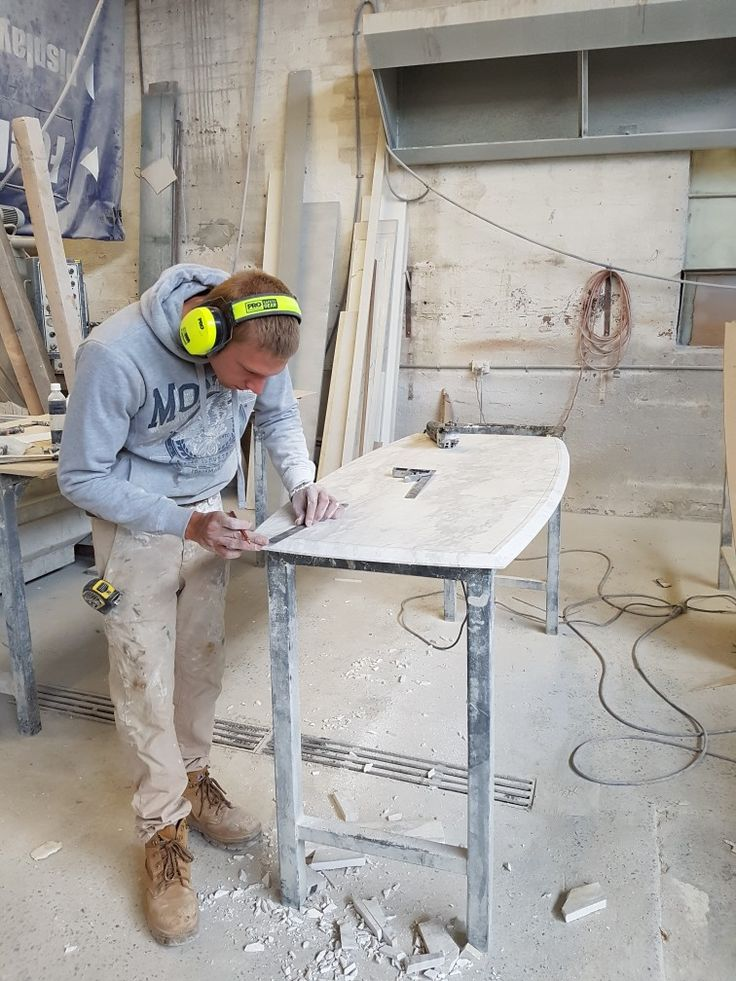 Navarre designing and making a coffee table.  I've named this one stormy seas, the marble has markings just like a stormy sea.  Stunning
