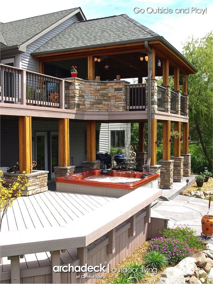 Multi Level Composite Deck, Covered Porch, Des Moines | Archadeck Outdoor  Living