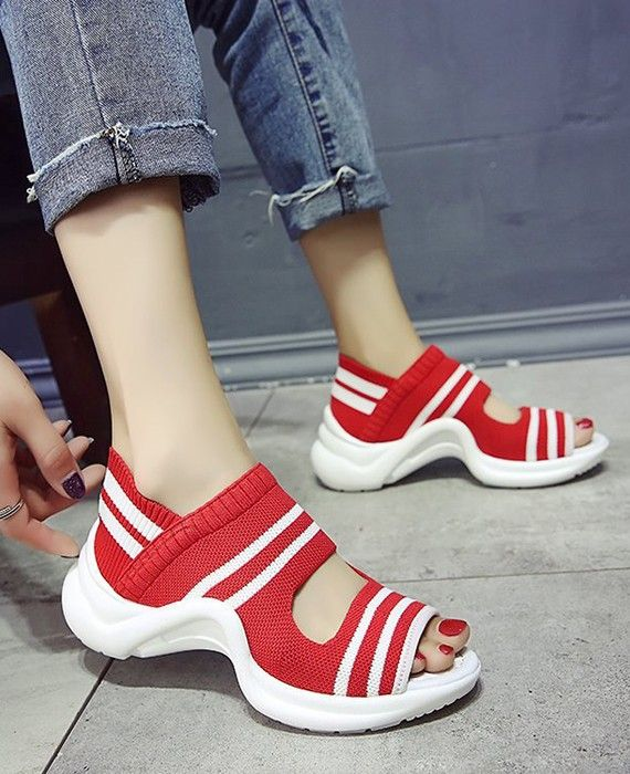 Open Toe Sneakers Knitting Thick Bottom