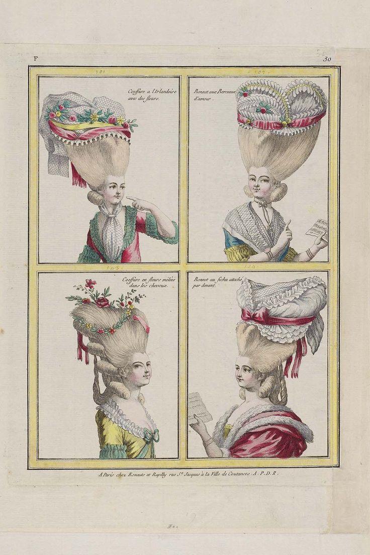 Coeffure a l Irlandoise avec des fleurs, Bonnet aux Berceaux d'amour, Coeffure en fleurs mélées dans les cheveux, Bonnet au fichu attaché par devant