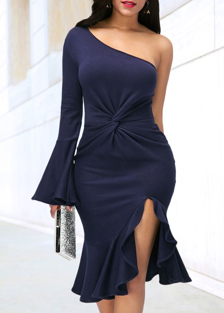 Flare Sleeve Navy Blue Side Slit Dress on sale only US$35.84 now, buy cheap Flare Sleeve Navy Blue Side Slit Dress at liligal.com