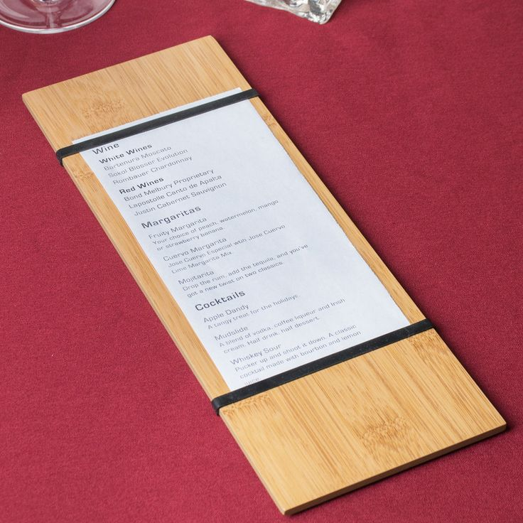 """American Metalcraft BBR12 12 1/2"""" x 4 1/2"""" Bamboo Wood Menu Holder with Straps"""