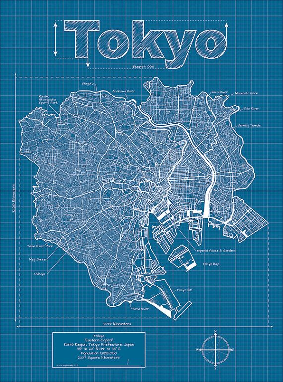 Tokyo Artistic Blueprint Map by MapHazardly on Etsy