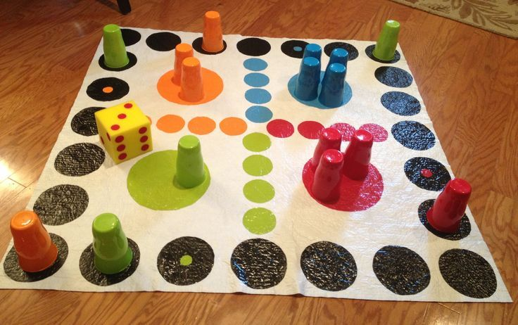 DIY Giant Trouble Game... Cost under $10 to make! Used a white vinyl tablecloth and craft paint for the game board. Used a piece of craft foam and paint for the dice. The game pieces are cheap plastic cups that come in a set of four from Wal-Mart!
