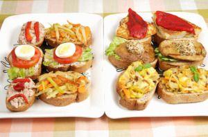 Tapas Españolas es una deliciosa entrada, puede ser hecho patata, baguette, cebolla, huevos, aceite y sal.