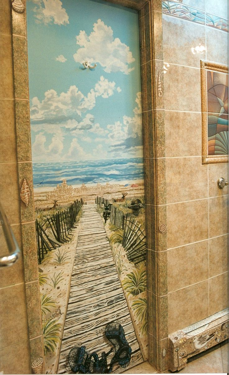 trompe l 39 oeil beach murals of fire island beach scenes on doors beach pinterest murals. Black Bedroom Furniture Sets. Home Design Ideas