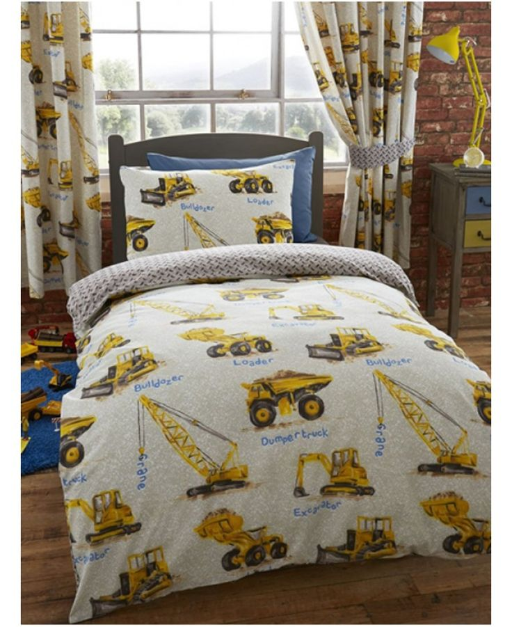 Dumper Trucks Single Duvet Cover and Pillowcase Set