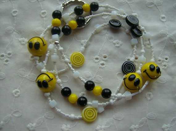 Don't Worry Be Happy Smiley Face Glass Beaded by whimsicalbeading, $18.00