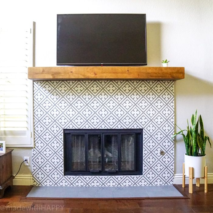 Modern Fireplace Makeover Just Like Cement Tile Fireplace But Portuguese Ceramic Tile Fireplace Modern Modern Fireplace Fireplace Makeover Fireplace Design