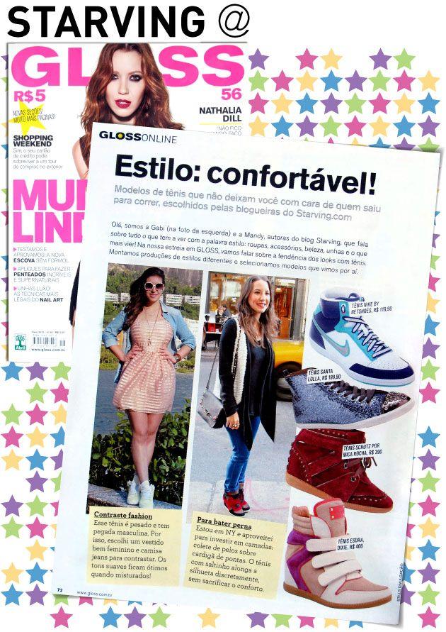 Starving na revista Gloss, Sneakers, looks com tênis, pauta, matéria, Nathália Dill, it-gloss