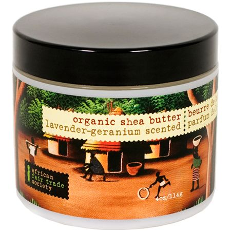 This pure raw unrefined shea butter has the added benefits of virgin olive oil, vitamin E and pure essential oils of Lavender and Geranium.