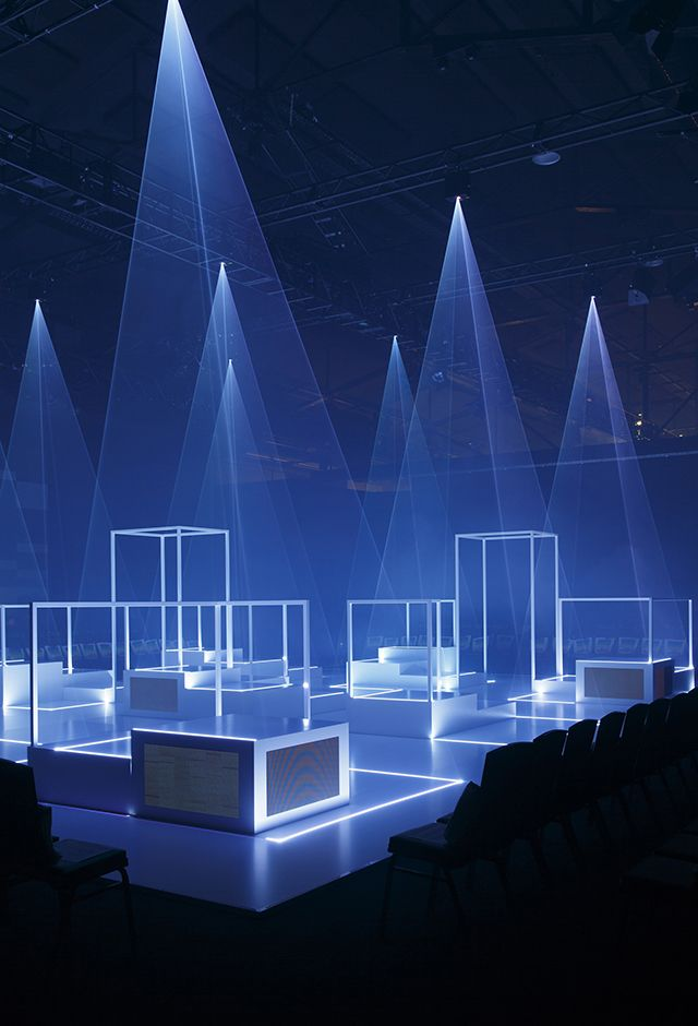 Summers hottest collections were presented amid a laser show of spectacular colour and repetitive shapes.