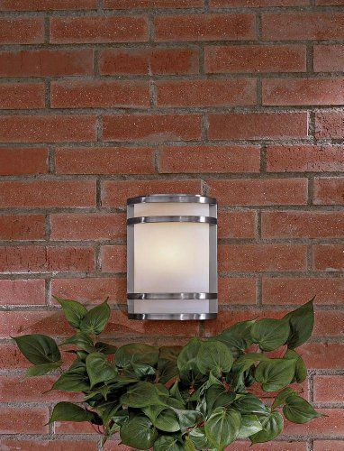 "Bay View Collection 9 1/2"" High Outdoor Wall Light by Minka Lavery. $109.90. Crisp, minimal lines and a generous, warm light throw give this outdoor fixture instant appeal. From Minka, the piece features a stainless steel finish. Etched opal glass shade.. Save 33%!"